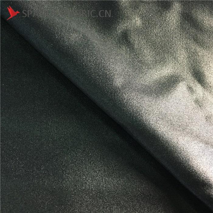 Black Wetlook Nylon Lycra Spandex Material Calendering Fabric
