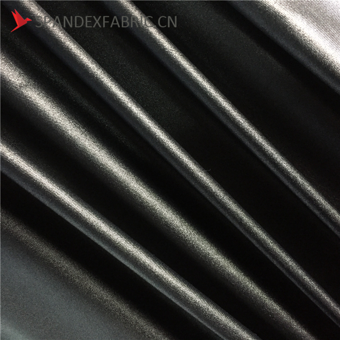 Black Wetlook Nylon Lycra Spandex Material Calendering Fabric