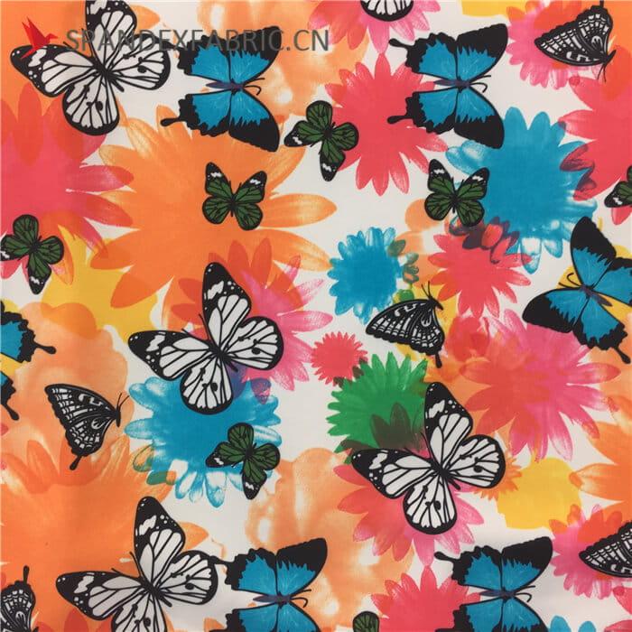 Butterfly Polyester Elastane Swimwear Fabric wholesale