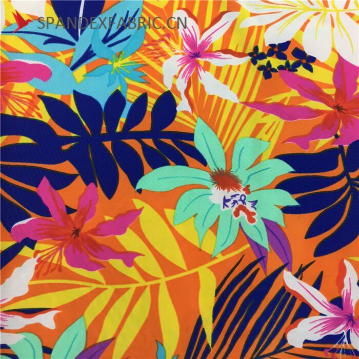 Floral Printed Polyamide Lycra Spandex Fabric