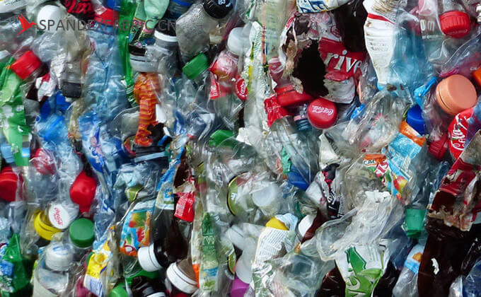 the recycled polyester raw material- post-consumer PET bottle